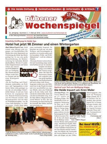 Dübener Wochenspiegel | Ausgabe 2 | Jahrgang 2018