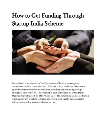 How to Get Funding Through Startup India Scheme