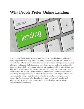 Why People Prefer Online Lending