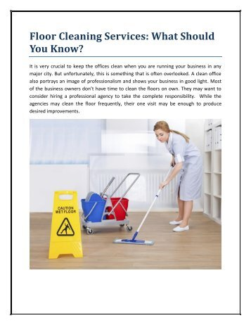Floor Cleaning Services: What Should You Know?