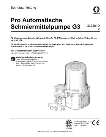 332301D G3 Pro Automatic Lubrication Pump, Instructions, German
