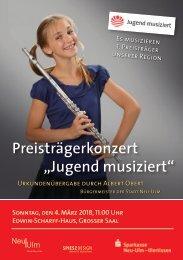 """Preisträgerkonzert """"Jugend musiziert"""" 2018, Neu-Ulm"""