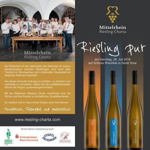 Mittelrhein Riesling Charta: Riesling Pur 2018 auf Schloss Rheinfels