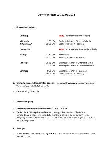 Vermeldungen KW7/18