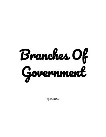 Branches Of Government- Children's Book- Civics Project