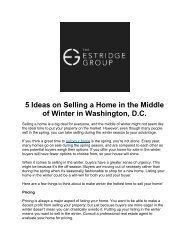 5 Ideas on Selling a Home in the Middle of Winter in Washington, D.C.