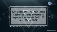 QYResearch: The Anti Acne Cosmetics sales revenue is expected to reach 3411.27 M USD in 2022