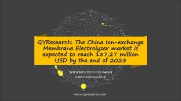 QYResearch: The China Ion-exchange Membrane Electrolyzer market is expected to reach 187.27 million USD by the end of 2023