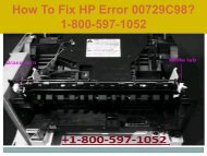 Call +1-800-597-1052 Fix HP Error 00729C98 | For HP help