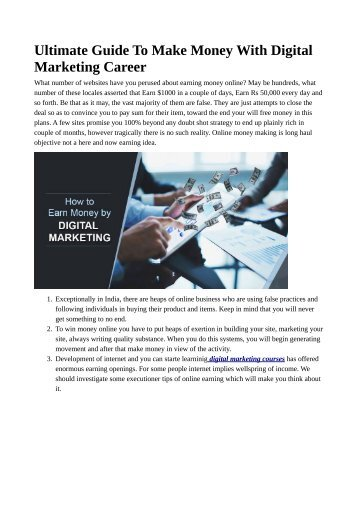 Ultimate Guide To Make Money With Digital Marketing Career