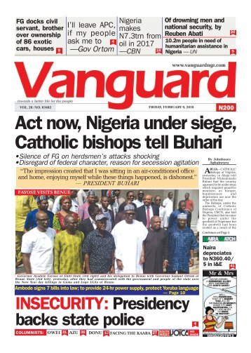 09022018 - Act now, Nigeria under siege, Catholic bishops tell Buhari