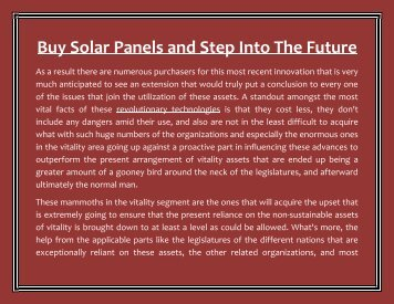Buy Solar Panels and Step Into The Future