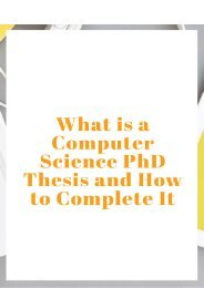 What is a Computer Science PhD Thesis and How to Complete It