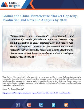 Global and China Piezoelectric Market Capacity, Production and Revenue Analysis by 2020