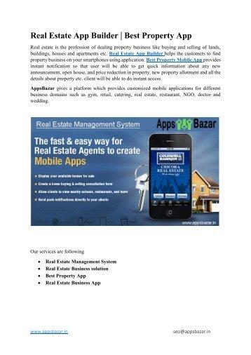 Real Estate App Builder  Best Property App