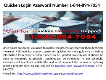 Quicken Login Password Number 1-844-894-7054