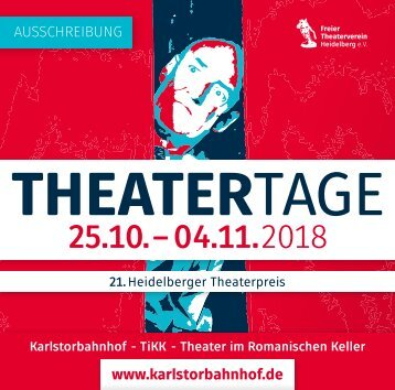 Heidelberger Theatertage 2018 - AUSSCHREIBUNG