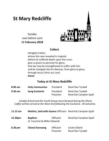 St Mary Redcliffe Church Pew Leaflet, February 11 2018
