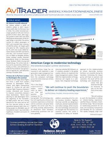 AviTrader Weekly News 2018-02-05