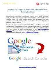 Analysis of new Changes in Google Search Console by Best Seo Company in Udaipur