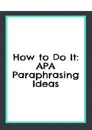 How to Do It: APA Paraphrasing Ideas