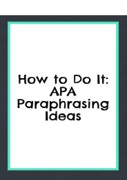 How to Do It: APA Paraphrasing Ideas