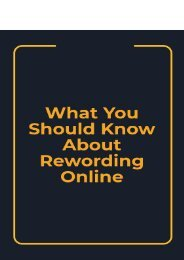 What You Should Know About Rewording Online