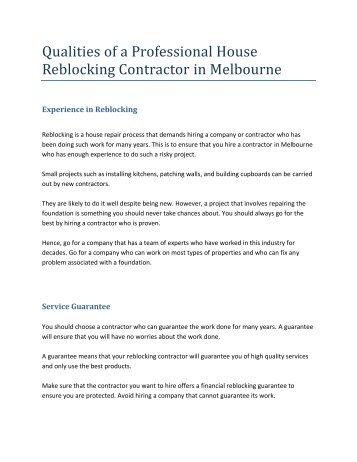 Qualities of a Professional House Reblocking Contractor in Melbourne
