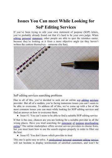 Issues You Can meet While Looking for SOP Editing Services