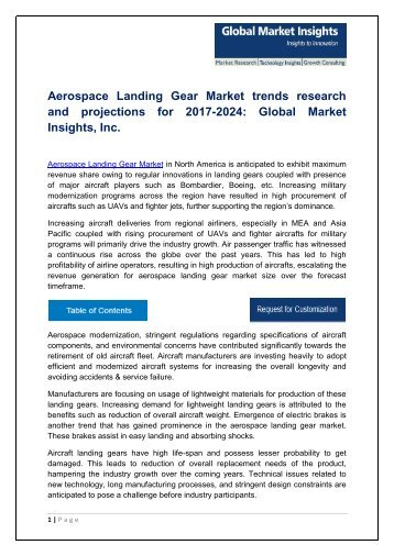 Aerospace Landing Gear Market Analysis, Trends and Forecast, 2017-2024