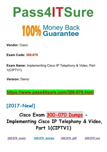 [2018 New] The Most Effective Pass4itsure Cisco-300-070 Dumps PDF Vce Files