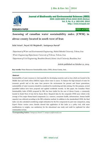 Assessing of canadian water sustainability ındex (CWSI) in ahwaz county located in south west of Iran