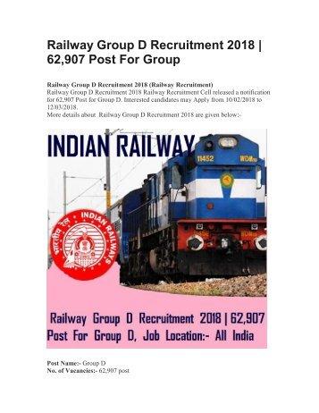 Railway Group D Recruitment 2018