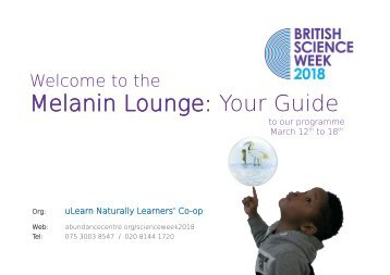 Melanin Lounge 2018 - Your Guide to our programme (March 12 - 18th)