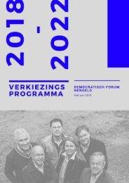 Verkiezingsprogramma DFH 2018 - 2022
