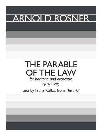 Rosner - The Parable of the Law, op. 97