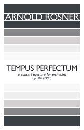Rosner - Tempus Perfectum, op. 109