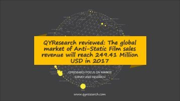 QYResearch reviewed: The global market of Anti-Static Film sales revenue will reach 249.41 Million USD in 2017