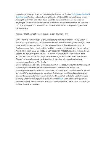 Fortinet Prüfungsfragen NSE4 Zertifizierung