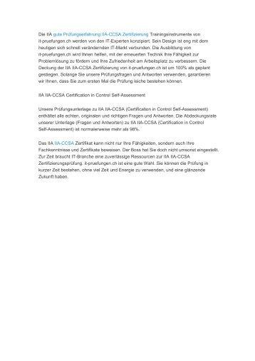 übungsexamen IIA-CCSA Zertifizierung