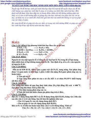 Tuyển tập 50 đề thi học sinh giỏi môn hóa học 8 (kèm đáp án) (by Dameva)