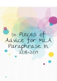 5+ Pieces of advice for MLA Paraphrase in 2018-2019
