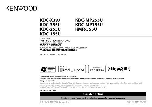 "Kenwood KDC-155U - Car Electronics ""English, French ... on kenwood kdc wiring-diagram, kenwood kdc 252u specs, kenwood head unit,"