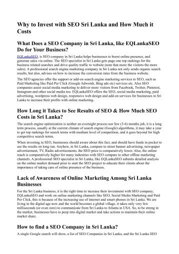 Why to Invest with SEO Sri Lanka