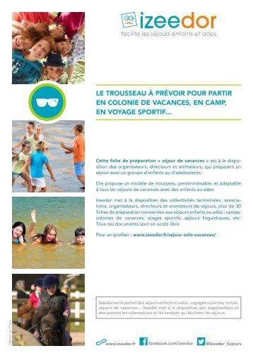 Trousseau pour partir en colonie de vacances sejour ou camp
