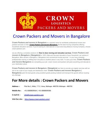 Crown Packers and Movers in Bangalore