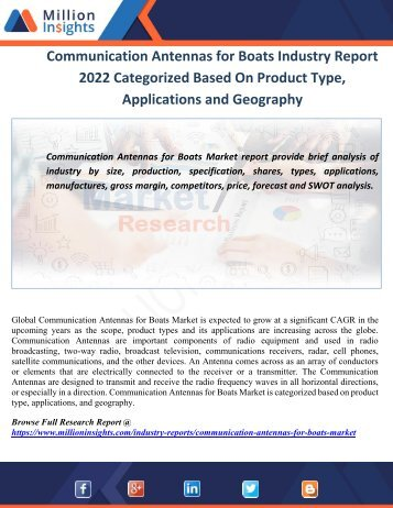 Communication Antennas for Boats Industry Report 2022 Categorized Based On Product Type, Applications and Geography