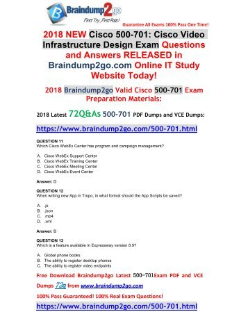 [2018-Feb-Version]New 500-701 Dumps with PDF and VCE 72Q&As Free Share(12-21)