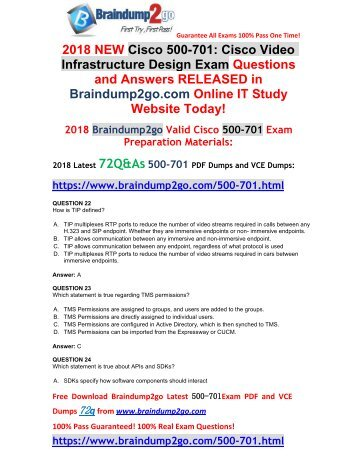 [2018-Feb-Version]New 500-701 PDF and VCE Dumps 72Q&As Free Share(22-32)