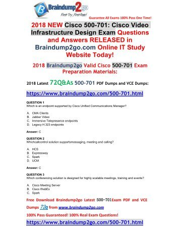 [2018-Feb-Version]New 500-701 VCE and PDF Dumps 72Q&As Free Share(1-11)